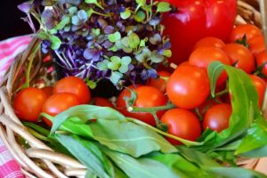 A basket of locally grown produce